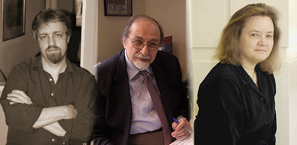 Maine composers (L to R): Gregory Hall, Elliott Schwartz, Beth Wiemann
