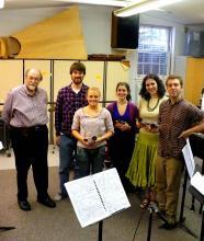 Composer Elliott Schwartz (at left) with the BNME