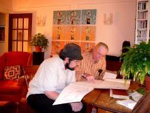 Jason Belcher confers with Burr Van Nostrand, 2011