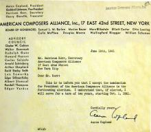 Aaron Copland accepts nomination as President of ACA