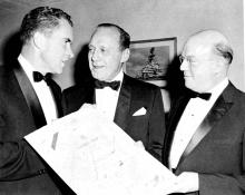 ACA's Ben Weber presents the Laurel Leaf Award to Jack Benny, 1959
