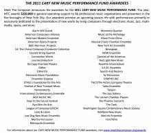 Cary New Music Fund Press Release 2011