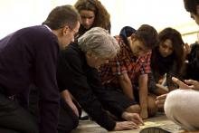 """teaching Steve Reich's """"Clapping Music"""" to a group of Ukrainian students"""
