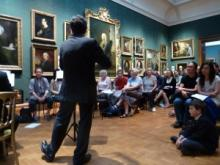 Peter Sheppard Skaeved performs at the National Portrait Gallery in London