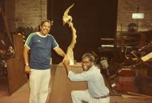 Composer TJ Anderson with sculptor Richard Hunt, in the artist's studio